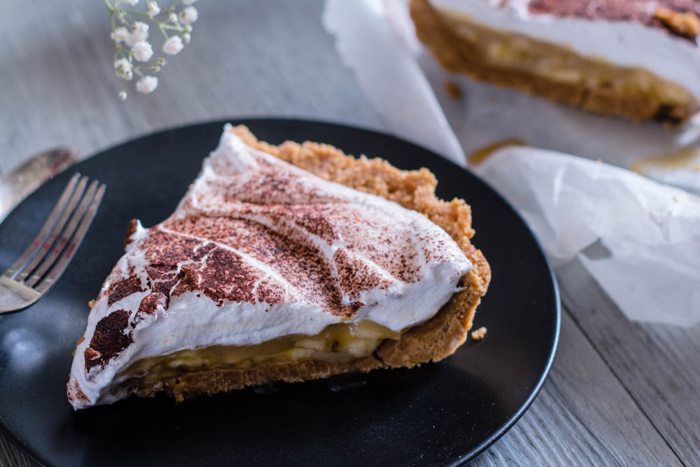Banoffee pie (tarte banane, caramel et chantilly) vegetalien
